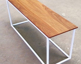 Bench/Coffee Table, recycled spotted gum top, Powder coated steel base