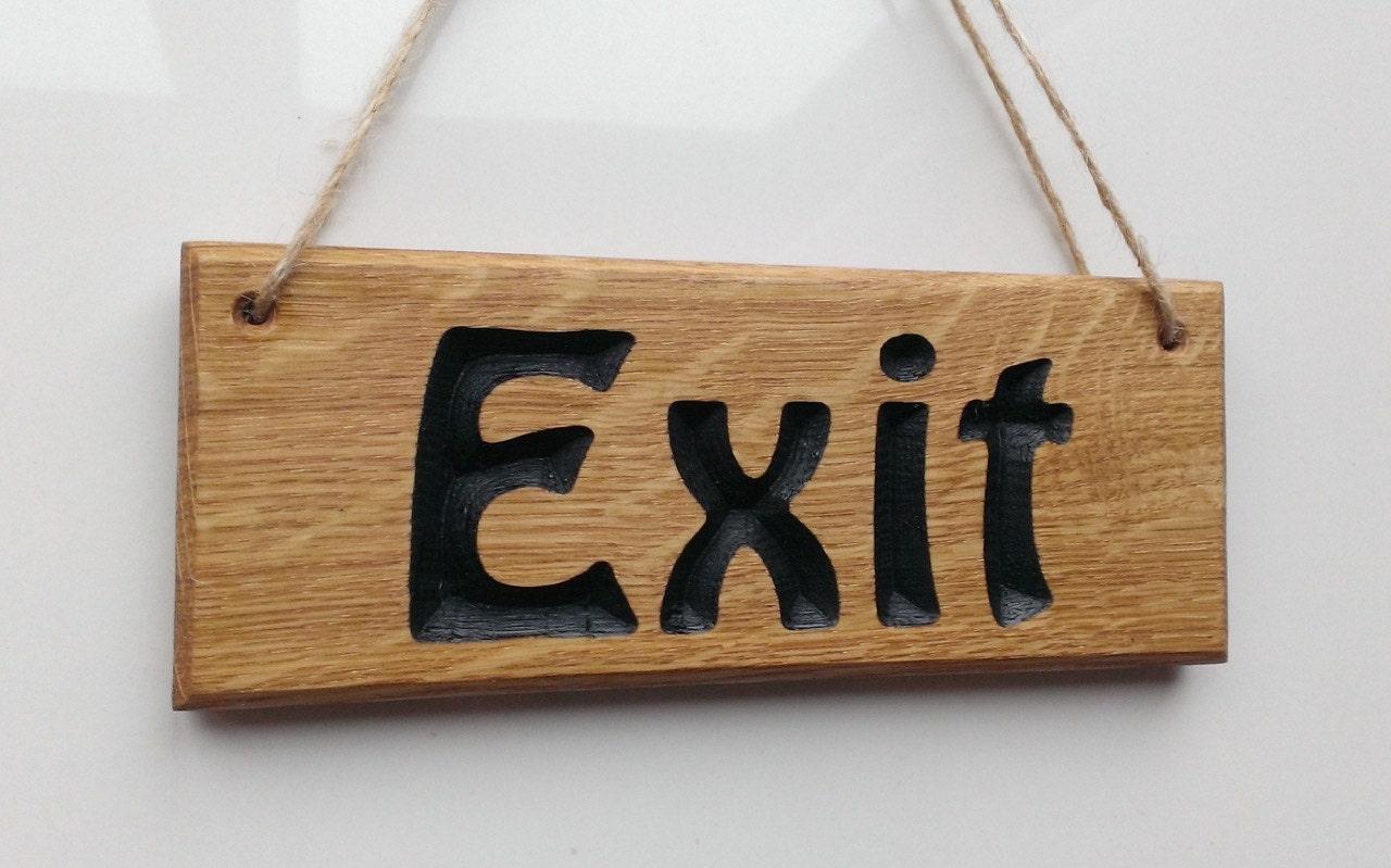 Oak exit hanging sign personalisable engraved wooden name plates oak exit hanging sign personalisable engraved wooden name plates plaques hung with jeuxipadfo Images