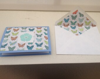 Butterfly and flower notecard set