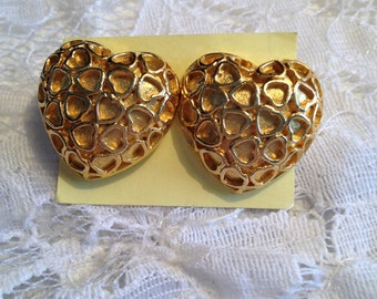 Gold Tone Puffy Heart Pierced Style Earrings, Tiny Hearts Create the Filigree Design.