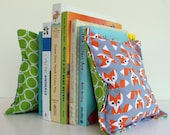 Fabric Bean Bag Bookends - Reversible - Foxes in grey, green and orange, for bookshelves or open shelving.  Also great for children, SAFE!