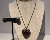 Steampunk Style Angel Wing Heart Necklace and Earring Set - Angel Wing Heart Locket Necklace and Earrings - Locket Style