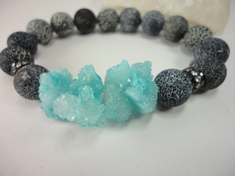 Black Agate Gemstone and Aqua Druzy Beaded Stacking Bracelet With CZ Pave Beads/Efflorescence Agate/Blue Ice/Iceberg Beads