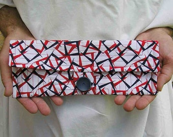 Red white blue clutch, Retro Clutch Purse, clutch bag, retro purse, vintage fabric clutch, upcycled clutch purse, eco friendly clutch purse