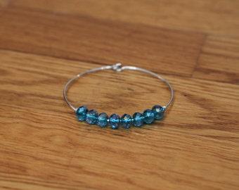 Crystal Beaded Wire Bracelet - Hook/Latch - 5 colors