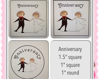 Wedding anniversary reminders scrapbooking stickers for Plum Paper Planners, Erin Condren Life Planners and other planners