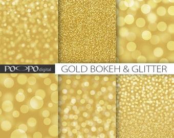 Gold boheh digital paper glitter texture photography background photo album golden scrapbooking sparkle graphics image backdrop anniversary