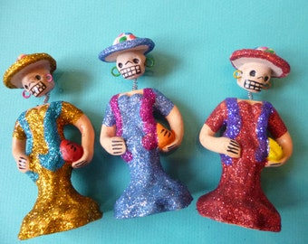 Day of Dead Ceramic Skeleton Ladies Folk Art Glitter Catrina Bobble Head Collection of 3 Made in Mexico