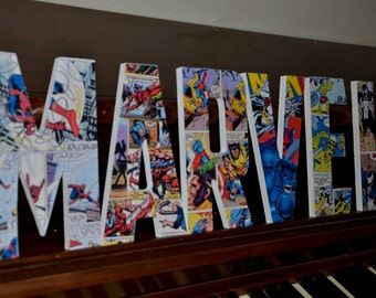 Marvel Superhero Letters, Marvel Superhero custom made name letters, Xmen wooden letter, marvel bedroom decoration, boy superhero room