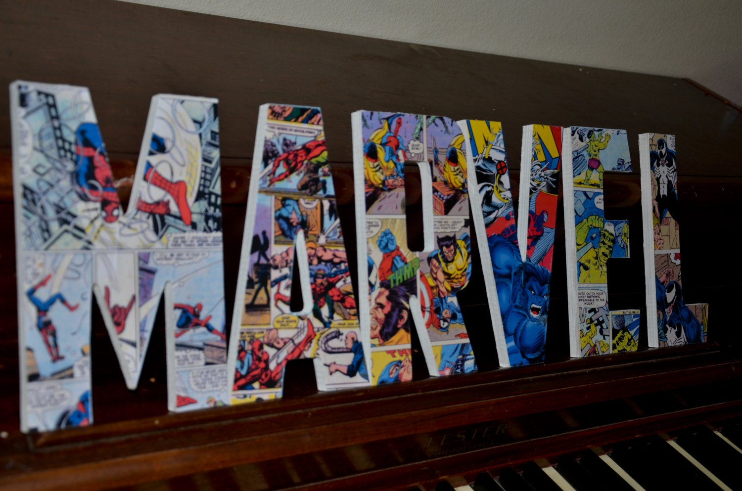 Marvel Wood Wall Decor : Marvel superhero letters custom made name