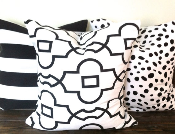 New black and white pillows from Bright & Bold Designs