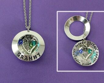 Personalized Grandma Locket Necklace - Handstamped Grandma Necklace - Birthstone Locket - Mother - Grandmother - Mommy Locket Necklace