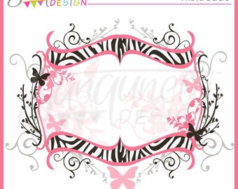 Hot Pink and Black Zebra Frame Clipart Commercial Use License Included