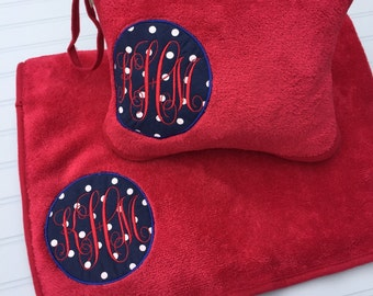 Monogrammed Travel Blanket and Pillow Set / Personalized Blanket / Airplane Blanket / Wanderlust