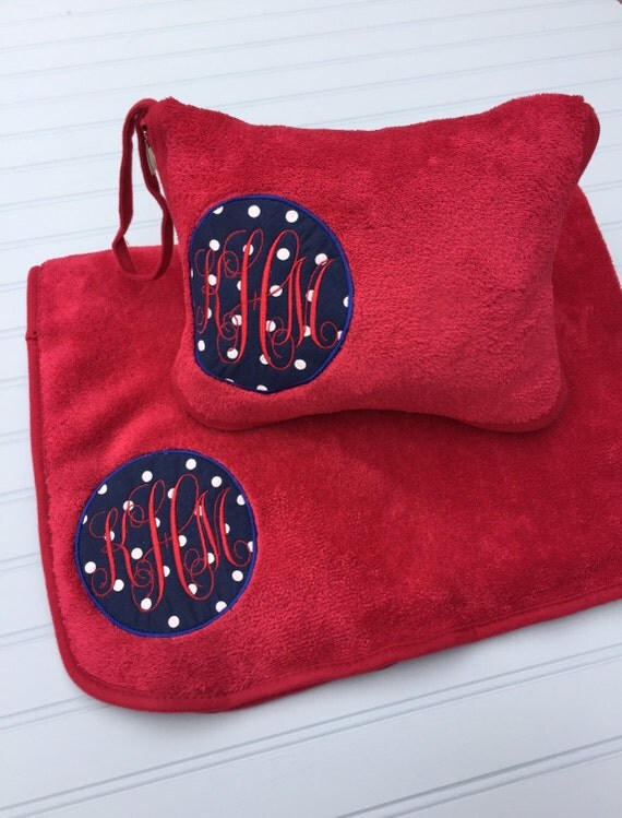 Monogrammed Travel Blanket and Pillow Set / Personalized