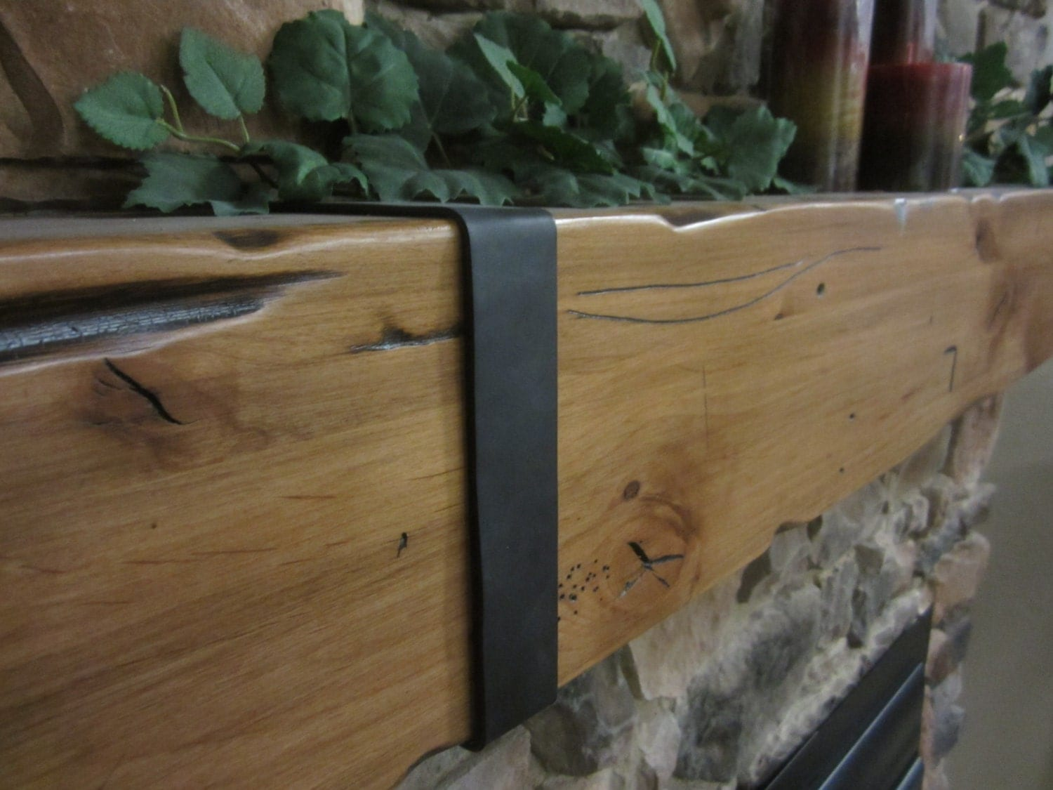 Floating Shelf Mantel Fireplace Knotty Alder Hand Made Hewn