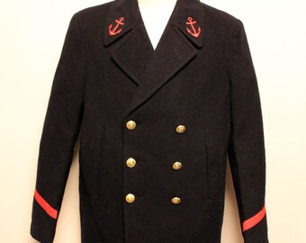 70's French  Marine  pea coat made in france