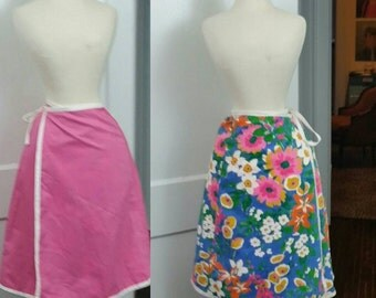 60s Wrap Skirt Blue Floral and Pink Reversible XS/S