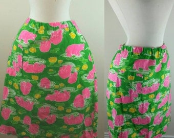 60s Hippo Skirt Green and Pink Pocketed Novelty Print L