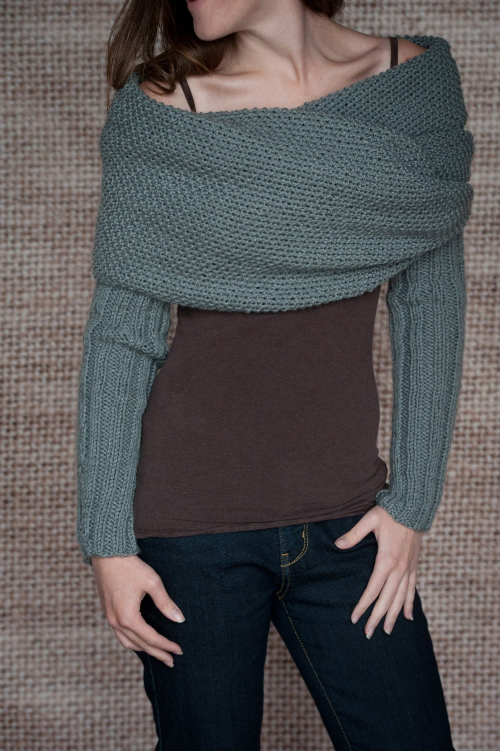 Knitting Pattern For Scarf With Sleeves : Knitting Pattern Sleeve Scarf Sweater Wrap Instand