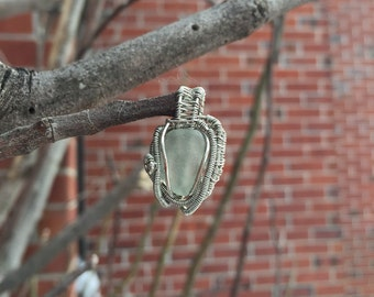 Eternal Sunshine of The Spotless Mind ~Sea Glass Pendant Wire Wrapped in Silver Copper Wire~ Artisan Pendant~ Mermaid Tear~ SeaGlass Pendant