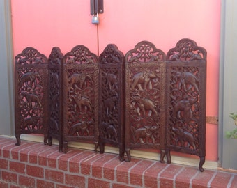 Hand Carved Elephant Screen from India