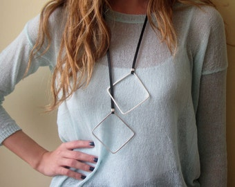 Long Necklace - Leather Necklace - Black Necklace - Statement Necklace - Geometric Necklace - Statement Jewelry - Leather Jewelry