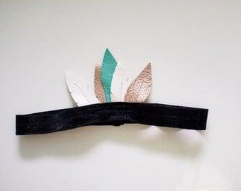 Bohemian Feather Headband- Turquoise & Black
