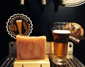 Beer Soap, Goat's Milk Soap- The Groggy Goat Marbled Beer Bar with Homebrewed Beer, Goat's Milk and Silk