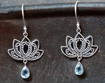 Lotus Flower Sterling Silver and Blue Topaz Earrings