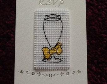 Lovely Handmade Cross Stitch RSVP Card