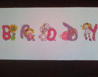 Stunning completed Ragdoll & Friends Cross Stitch Name Sampler