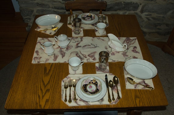 Handmade Alpaca Wet Felted Table Setting For Two Person