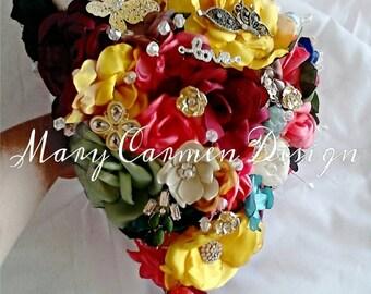 Brooch Wedding bouquet, ramo novia, quinceañera, ramo de broches, flores hechas a mano cristales, bride bouquet, Bouquet brooches