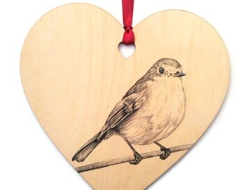 Robin bird home decoration, Unique hand drawn robin wooden heart gift, Coloured ribbon, Personalised with name, Hanging heart decoration.