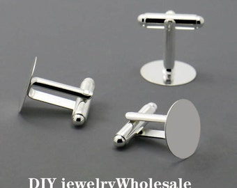 12pcs Silver Plated Nickel-free Cuff Links With 15mm Pad, 15mm Silver Plated Cuff Links With Pad