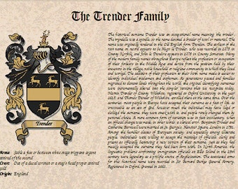 Combined Coat of Arms and Surname History Print Made To Order!