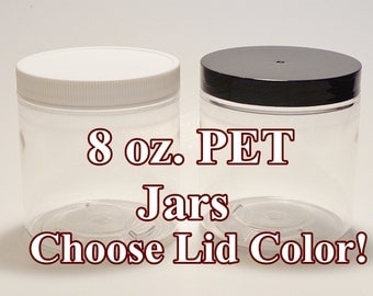 10 8-oz. PET Jars w/lids! (Lotion, body scrubs, butters) PLASTIC Storage Containers #70/400