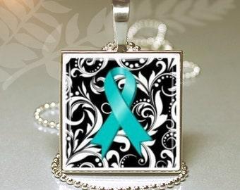 Silver Square Necklace  Keyring Ovarian Cancer Awareness