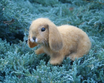 Needle Felted Rabbit. Realistic Rabbit. Soft Sculpture. Needle-Felted Bunny. Felted Animal. Bunny. Brown. Made to order.