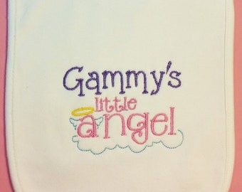 Embroidered Baby Bib, Little Angel, Grandma, Grandpa, custom bib, infant baby bib, girl bib, boy bib, cotton baby bib, handmade bib