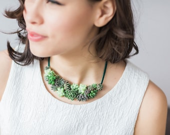 Statement necklace | Succulent jewelry |  Wedding jewelry | Living jewelry
