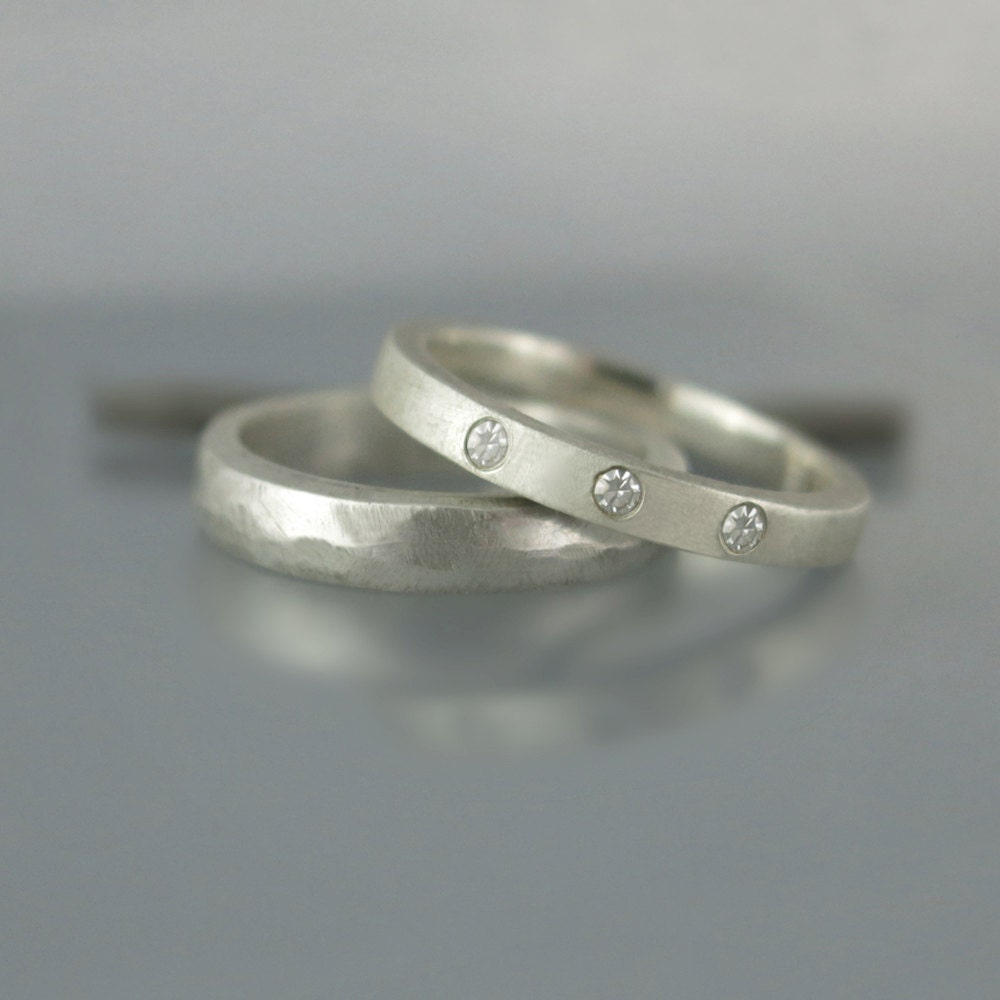 stacking modern wedding ring set simple by ravitkaplanjewelry