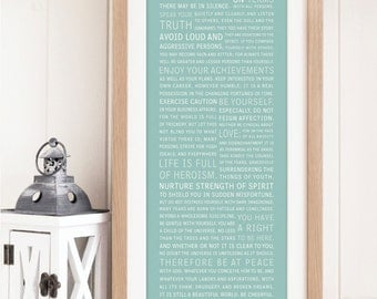 """MOUNTED & FRAMED """"Desiderata"""" by Max Ehrmann - Inspirational Typographic print - Home Decor - Gift"""