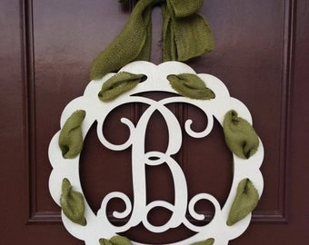 Single Initial Monogram Wooden Door Hanger With Ribbon