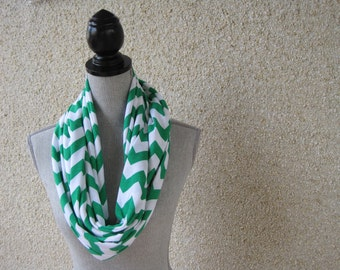 Fabric scarf, Infinity scarf, tube scarf, eternity scarf, loop scarf, chevron scarf, white and green, white scarf, green scarf