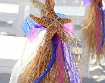 Beach Wedding Aisle Sash with Raffia, Ribbon, and Starfish, Aisle Markers