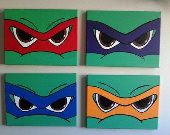 Ninja Turtles Canvas Art set of 4- 9x12