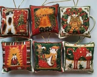 6 cat design Fabric square Christmas tree hanging decorations