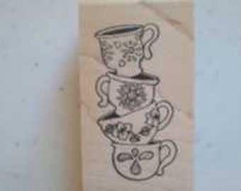 Stack of Cups Rubber Stamp - 77M08